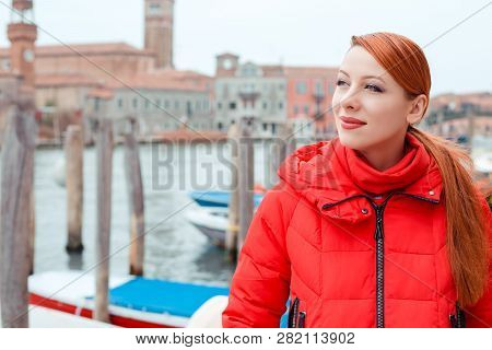 Dreamy Young Woman Traveler Standing