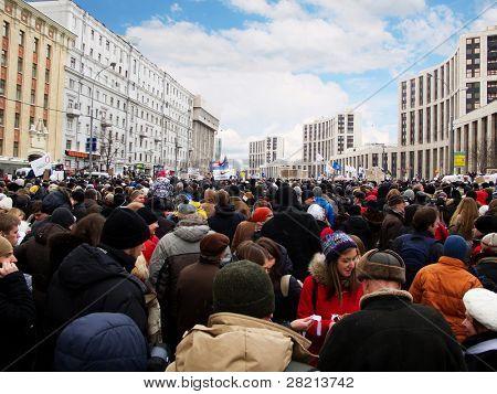 Moskau - 24. Dezember: Teilnehmer der Manifestation Protest gegen die Fälschung von der parliam