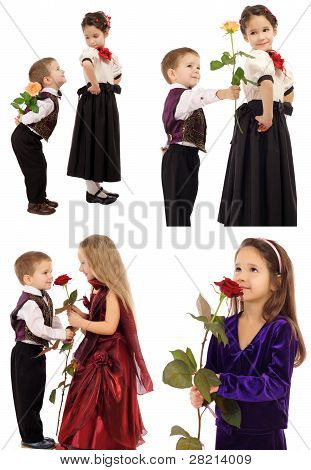 Little girl with boy and rose