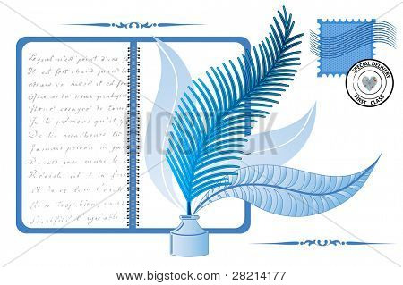 feather inkwell notebook writing stamp