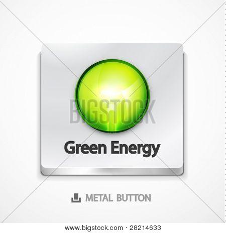 Botón de metal con concepto verde. Eps10 icono