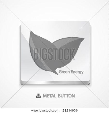 Metall Knopf mit grünen Konzept. Eps10-Symbol