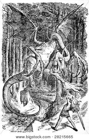 Alice está luchando contra el Galimatazo - grabado por John Tenniel (Reino Unido, 1872). Ilustración f