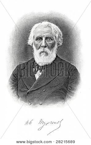 Ivan Turgenev - great Russian writer. Engraving on steel by M. Panov, 1880. Published on Ivan Glazunov printing house, Saint-Petersburg, Russia, 1891.