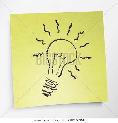 Idea symbol on sticky yellow paper. Vector illustration