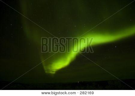 Bright Aurora Arc And A Cloud
