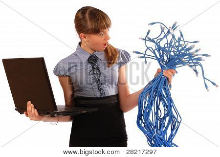 Girl With Surprise Holds The Big Sheaf Of Network Cables Rj45
