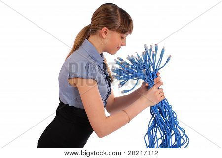 Girl Before Itself Holds The Big Sheaf Of Network Wires Rj45