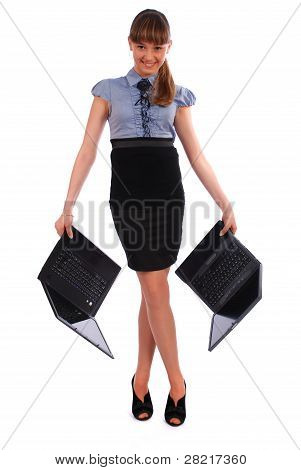 Girl Holds Two Laptop