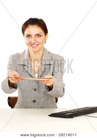 Young business woman with application file isolated on white background