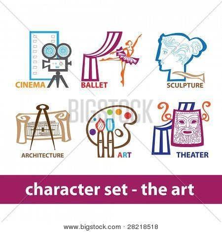 Collection of icons - the art: cinema, ballet, sculpture, architecture, art, theater. Creative vector set.