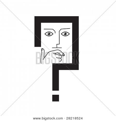 Thinker. The man's face in the frame of the question mark. Conceptual illustration. Vector.