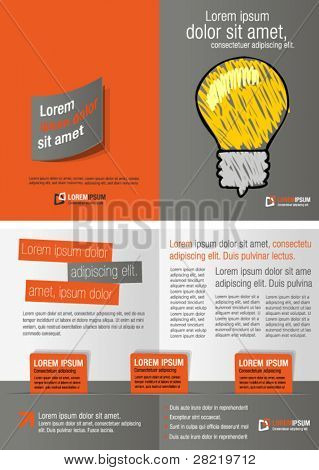 Gray and orange template for advertising brochure with idea light bulb