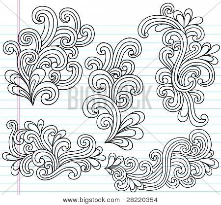 Notebook Doodle Swirly Vector Illustration Design Elements