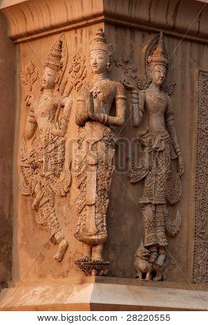 Angel Statue At Scripture Repository Wat Phra Singh, Chiang Mai.
