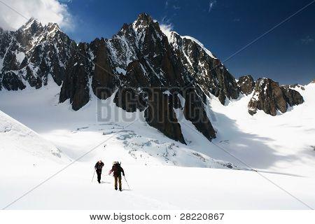 Alpinists traversing Mer de Glace, Haute Savoie, France
