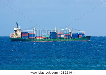 Cargo ship filled with containers on open sea