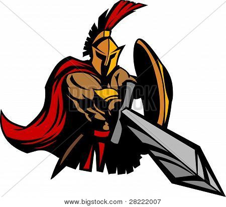 Spartan Trojan Mascot Vector With Sword And Shield