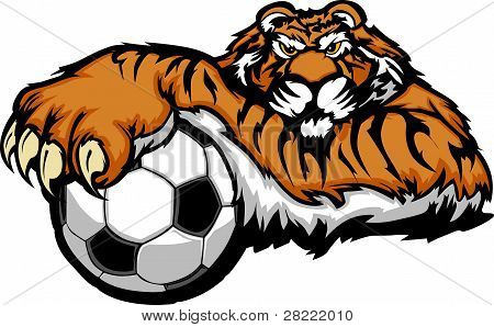 Tiger Mascot With Soccer Ball Vector Illustration