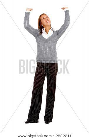 Business Woman Pushing Up