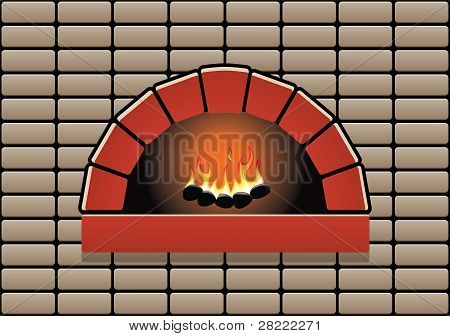 Vector Oven With Burning Fire