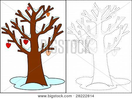 Coloring - winter tree
