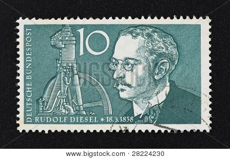 BARCELONA - SEPTEMBER 30: Vintage 10 Marks German stamp with Rudolf Diesel illustration on September 30, 2009 in Barcelona, Spain.