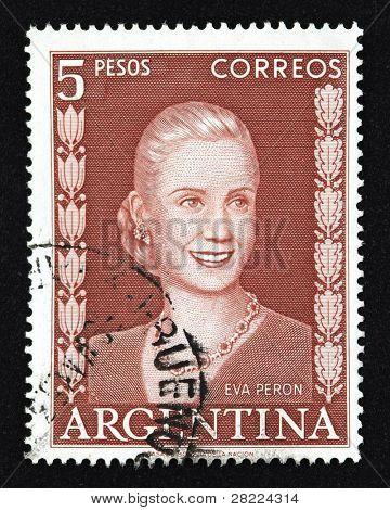 ARGENTINA - BUENOS AIRES - por volta de 1948: Um selo imprimido na Argentina mostra a imagem de um político lide