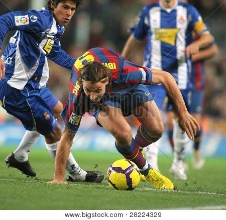BARCELONA, SPAIN - DEC 12: Swedish FC Barcelona striker Zlatan Ibrahimovic during Spanish league match between Barcelona vs Espanyol at Camp Nou stadium December 12, 2009 in Barcelona, Spain.