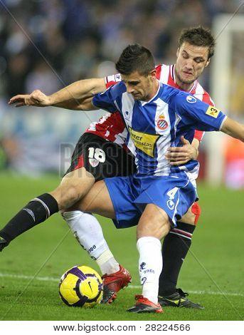 Barcelona jan 30: marquez(l) von Espanyol Kampf mit gurpegi(r) während eine spanische Meisterschaft Spiel zwi-