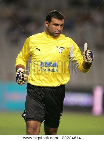 BARCELONA - SEPT 1: Lazio Goalkeeper  Angelo Peruzzi during a friendly match between Espanyol and Lazio at the Olympic Stadium on SEPTEMBER 1, 2006 in Barcelona, Spain.