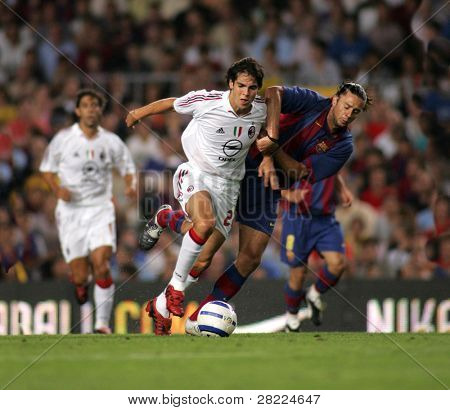 BARCELONA - AUG 26: AC Milan Brazilian Kaka during a friendly match between FC Barcelona and AC Milan at the Nou Camp Stadium on August 26, 2004 in Barcelona, Spain.