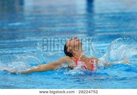 BARCELONA, SPAIN - JUNE 20: Spanish olympic medalist Gemma Mengual swims a solo exercise during the Espana Sincro meeting in Barcelona Picornell Swimpool, June 14, 2007 in Barcelona, Spain.