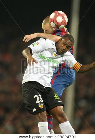 BARCELONA - MARCH 14: Miguel Brito of Valencia CF in action during a Spanish League match between FC Barcelona and Valencia at the Nou Camp Stadium on March 14, 2010 in Barcelona, Spain