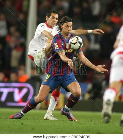 BARCELONA - MARCH 24: Zlatan Ibrahimovic of Barcelona in action during a Spanish League match between FC Barcelona and Osasuna at the Nou Camp Stadium on March 24, 2010 in Barcelona, Spain