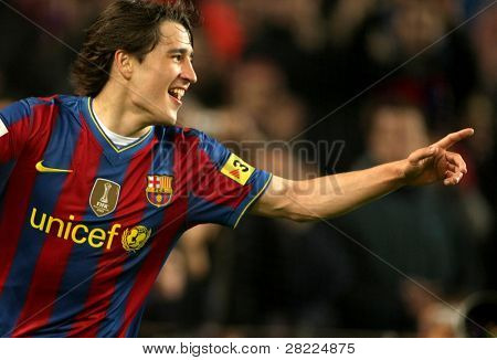 BARCELONA- APR 3: Bojan Krkic of Barcelona celebrates goal during a Spanish League match between FC Barcelona and Athletic Bilbao at the Nou Camp Stadium on April 3, 2010 in Barcelona, Spain