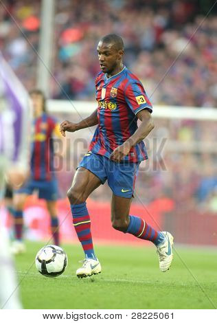 BARCELONA, SPAIN - MAY 16: Eric Abidal of Barcelona during a Spanish League match between FC Barcelona and Valladolid at the Nou Camp Stadium on May 16, 2010 in Barcelona, Spain