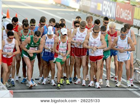 BARCELONA, SPAIN - JULY 27: Competitors at the start of Men 20km Walk Final of the 20th European Athletics Championships at the Parc de la Ciutadella on July 27, 2010 in Barcelona, Spain