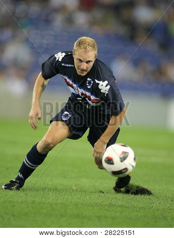 BARCELONA, SPAIN - JULY 31: Marco Padalino of UC Sampdoria in action during a friendly match against RCD Espanyol at the Estadi Cornella-El Prat on July 31, 2010 in Barcelona, Spain