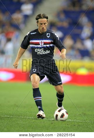 BARCELONA, SPAIN - JULY 31: Reto Ziegler of UC Sampdoria in action during a friendly match against RCD Espanyol at the Estadi Cornella-El Prat on July 31, 2010 in Barcelona, Spain