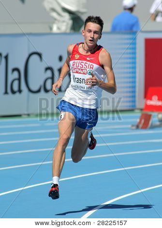 BARCELONA, SPAIN - JULY 27: Vladimir Krasnov of of Russia competes in the Men 400m during the 20th European Athletics Championships at the Olympic Stadium on July 27, 2010 in Barcelona, Spain.