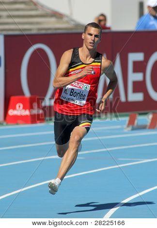BARCELONA, Espanha - 27 de julho: Kevin Borlee da Bélgica compete nos 400m homens durante o XX Europea