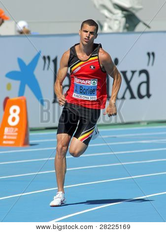 BARCELONA, SPAIN - JULY 27: Jonathan Borlee of Belgium competes in the Men 400m during the 20th European Athletics Championships at the Olympic Stadium on July 27, 2010 in Barcelona, Spain.
