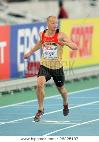 BARCELONA, SPAIN - JULY 27: Tobias Unger of Germany during the Men 100m of the 20th European Athletics Championships at the Olympic Stadium on July 27, 2010 in Barcelona, Spain.