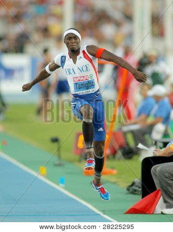 BARCELONA, SPAIN - JULY 27: Teddy Tamgho of France competes on the men triple jump final during the 20th European Athletics Championships at the Olympic Stadium on July 27, 2010 in Barcelona, Spain