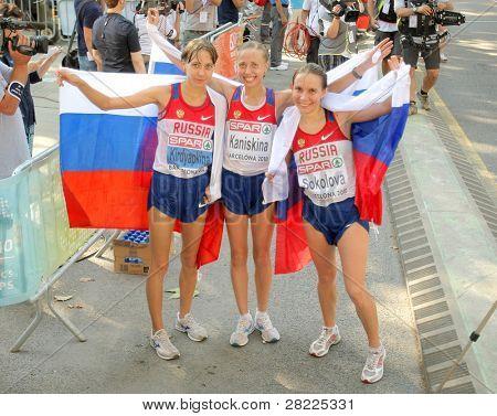 BARCELONA, SPAIN - JULY 28: Kirdyapkina, Kaniskina and Sokolova of Russia winners on Women 20km Walk European Athletics Championships at the Parc de la Ciutadella on July 28, 2010 in Barcelona, Spain