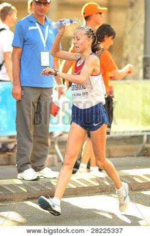 BARCELONA, SPAIN - JULY 28: Olga Kaniskina of Russia during Women 20km Walk Final of the 20th European Athletics Championships at the Parc de la Ciutadella on July 28, 2010 in Barcelona, Spain