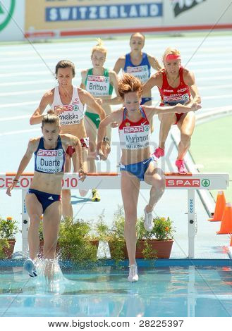 BARCELONA, SPAIN - JULY 28: Competitors of 3000m Steeplechase Women Round 1 of the 20th European Athletics Championships at the Olympic Stadium on July 28, 2010 in Barcelona, Spain