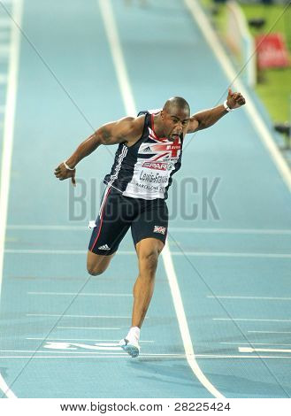 BARCELONA, SPAIN - JULY 28: Mark Lewis-Francis of Great Britain competes on the Men 100m during the 20th European Athletics Championships at the Olympic Stadium on July 28, 2010 in Barcelona, Spain.