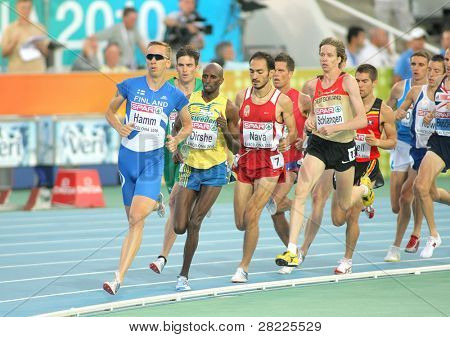 BARCELONA, SPAIN - JULY 28: Competitors of 1500 men event during the 20th European Athletics Championships at the Olympic Stadium on July 28, 2010 in Barcelona, Spain
